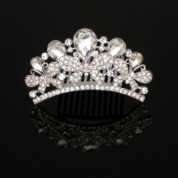Dainty Rhinestones Crystal Floral Silver First Communion Flower Girl Tiara Comb