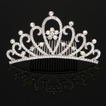 Perfect Crystal Floral Silver First Communion Flower Girl Tiara Comb