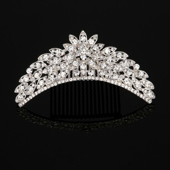 Amazing New Design Crystal Leaf-inspired Silver First Communion Flower Girl Tiara Comb