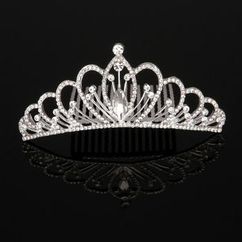 Stylish New Design Crystal Rhinestones Silver First Communion Flower Girl Tiara Comb
