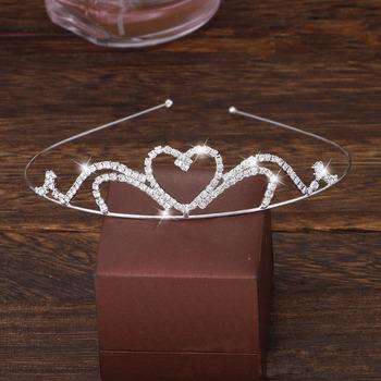 Wonderfully Sparkly Crystal Heart-inspired Silver First Communion Flower Girl Tiara/ Wedding Headpiece