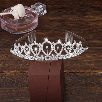 Delicate Twinkling Crystal Silver First Communion Flower Girl Tiara/ Wedding Headpiece
