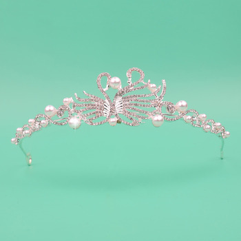 Classy Pearl Crystal Swans-inspired Silver First Communion Flower Girl Tiara/ Wedding Headpiece