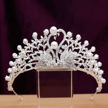 Stylish Crystal Leaf-inspired and Swans-inspired First Communion Flower Girl Tiara/ Wedding Headpiece