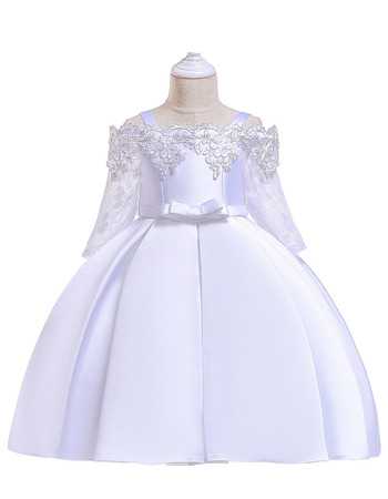 Pretty Appliques Off-The-Shoulder Satin First Holy Communion Dresses with 3/4 Length Lace Sleeves