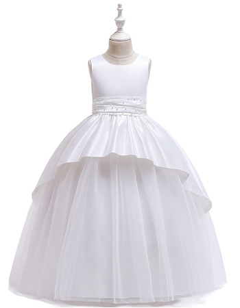 Pretty Ruched Beaded Waist Satin First Holy Communion Dresses with Hi-low Over Skirt