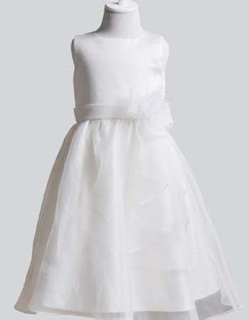 Simple Full Length Organza Satin First Holy Communion Dresses with Hand-made Flowers