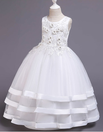 Charming Floral Applique Satin Tulle First Holy Communion Dresses with Layered Skirt