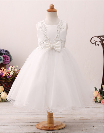 Cute Pearl Applique Satin Tulle Tea Length First Holy Communion Dresses/ Flower Girl Dresses