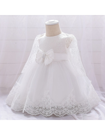 Pretty A-line Jewel Neckline Tulle First Holy Communion Dresses with Bowknot