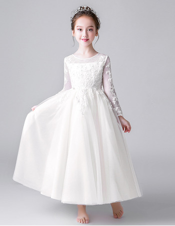 Lovely Floral Applique Ankle-length First Holy Communion Dresses/ Flower Girl Dresses with Long Sleeves