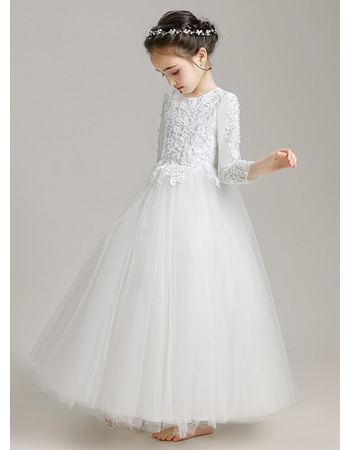 Lovely Beaded Applique Tulle First Holy Communion Dresses/ Flower Girl Dresses with Long Sleeves