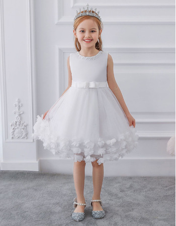 Beautiful Beaded Neckline Knee Length Tulle Flower Girl Dresses with 3D Floral Appliques