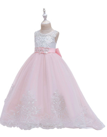 Princess Beaded Appliques Full Length First Communion Dresses with Illusion Open Back