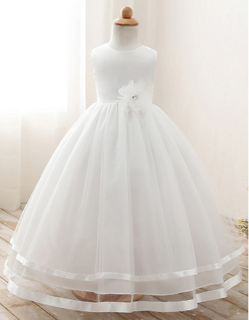 Pretty Ball Gown Satin Tulle First Holy Communion Dresses with Handmade Flowers and Two Layered Skirt