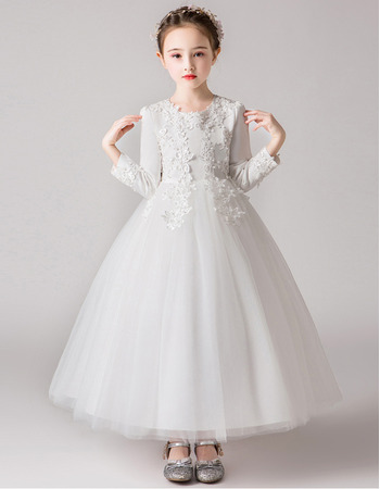 Beautiful Floral Appliques A-line Satin Tulle First Communion Flower Girl Dresses with Long Sleeves