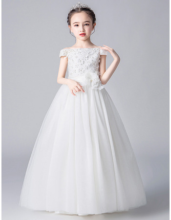 Beautiful A-line Off-The-Shoulder Satin Tulle First Communion Flower Girl Dresses with Floral Appliques