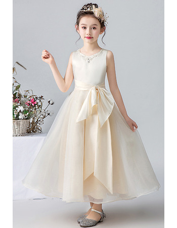 Charming A-line Beaded Neckline Satin Organza First Communion Flower Girl Dresses with Bowknot