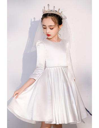Tailored Beaded Waist Short Satin First Communion Flower Girl Dresses with 3/4 Length Sleeves