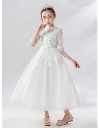 Lovely Floral Appliques Tulle First Communion Flower Girl Dresses with Half Lace Sleeves