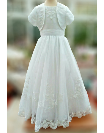 Pretty Princess Ball Gown Appliques Beading Tulle First Communion Dresses with Jacket