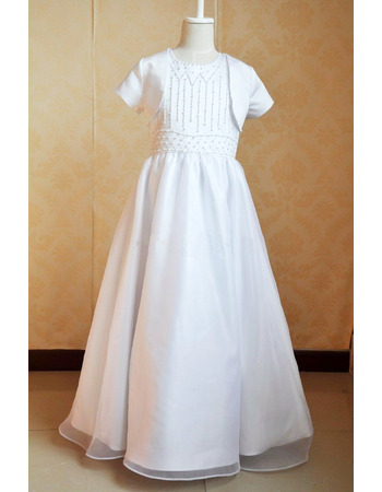Gorgeous Princess Ball Gown Organza First Communion Dresses with Jacket and Beading Embellished Bodice
