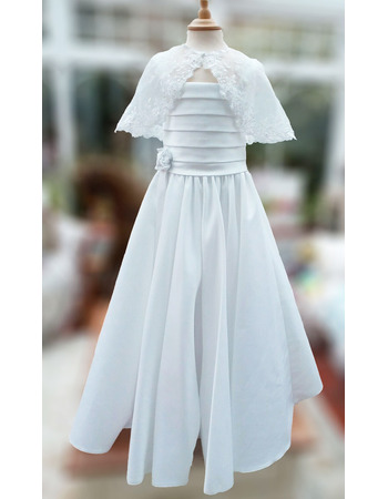 Charming Applique Wide Straps Ball Gown Ruched Satin First Communion Dresses with Jacket