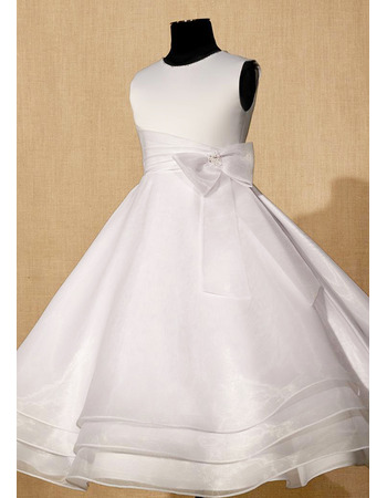 Affordable Ball Gown Satin Organza First Communion Dresses with Layered Skirt