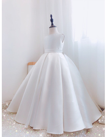 Couture Beaded V-back Ball Gown Satin First Communion Flower Girl Dresses with Long Train and Buttons Back