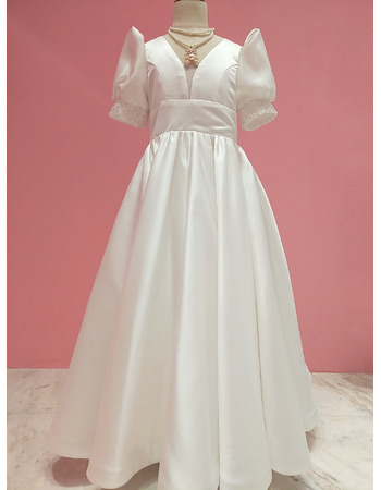 Modern V-neckline Satin First Communion Flower Girl Dresses with Chic Puff Sleeves