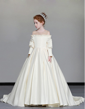 Modern Ruffled Illusion Neckline Satin First Communion Flower Girl Dresses with Chic Sleeves