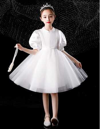 Cute Simple Ball Gown Satin Short First Communion Flower Girl Dresses with Puff Sleeves