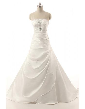Elegance Beaded Strapless Satin Wedding Dresses with Side Gathered Skirt