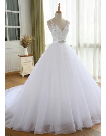 Dramatic Crystal Beading Embellished Bodice Tulle Wedding Dresses with Satin Belt