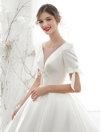 Princess Ball Gown Illusion Neckline Satin Wedding Dresses with Short Sleeves