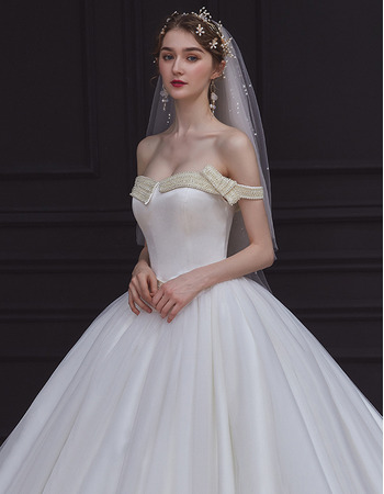 Gorgeous Ball Gown Off-the-shoulder Tulle Over Satin Wedding Dresses with Pearl Beading
