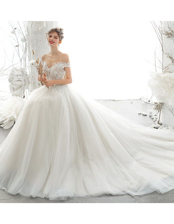 Gorgeous Beading Floral Applique Tulle Wedding Dresses with Open Back