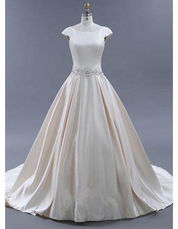 Plunging Scoop Back Court Train Satin Wedding Dresses with Beading Embroidered Waist