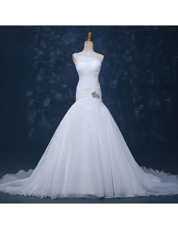 Beautiful Beaded One Shoulder Court Train Pleated Organza Wedding Dresses