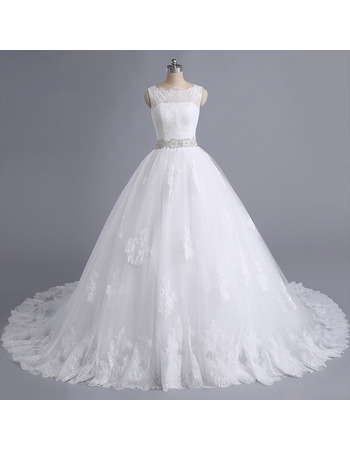 Romantic Lace Appliques A-line Tulle Wedding Dresses with Crystal Beading Embroidered Waist