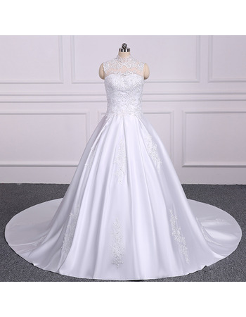 Classy High Neckline A-line Satin Wedding Dresses with Beaded Appliques Detail