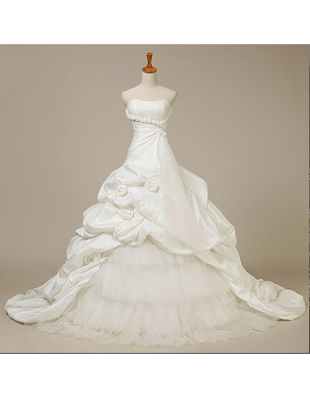 Princess Taffeta Tulle Wedding Dresses with Pick-up Layered Skirt and Hand-made Flowers Detail