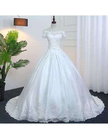 Elegant Off-The-Shoulder Satin Wedding Dresses with Floral Applique Bodice and Waist