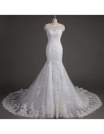Luxury Beading Appliques Mermaid Tulle Wedding Dresses with Sexy Open Back