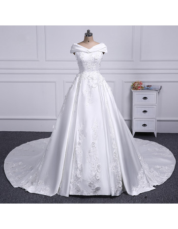 Stunning Off-The-Shoulder A-line Taffeta Wedding Dresses with Beaded Floral Applique