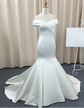 Simple&Sexy Off-The-Shoulder Mermaid Satin Wedding Dresses