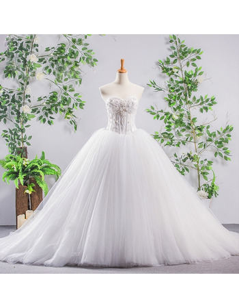 Princess Ball Gow Tulle Wedding Dresses with Beading Embroidered Bodice