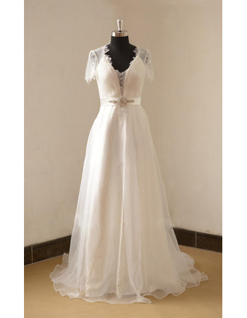 Elegance Low V-neckline Organza Wedding Dresses with Illusion Lace Back and Short Sleeves