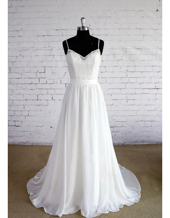 Alluring Spaghetti Straps Beach Wedding Dresses with Lace Top and Chiffon Skirt