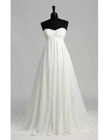 Graceful Empire Sweetheart Chiffon Wedding Dresses with Pleated Bust and Beading Detail